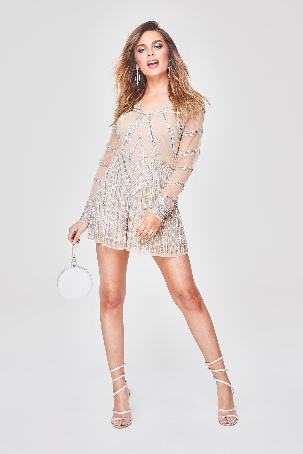 Premium Hand Embellished Plunge Playsuit by Boohoo