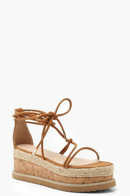 Womens Tan Skinny Strap Flatform Sandals