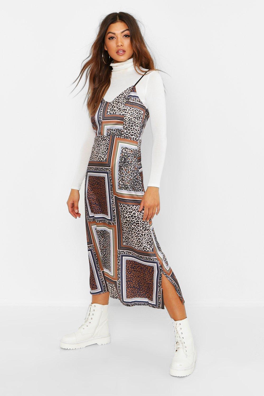 22ac13c796 Mixed Leopard Print Slip Dress | Boohoo
