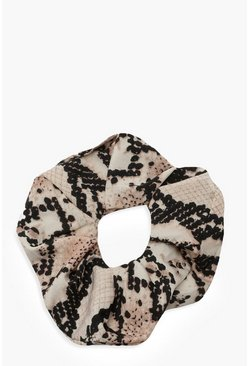 Womens Grey Snake Print Scrunchie