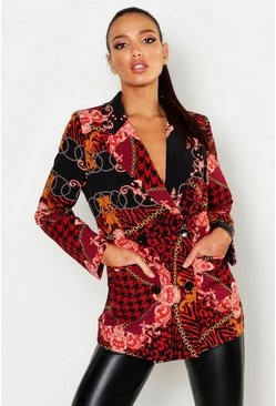 Womens Black Mixed Chain Print Suit Jacket