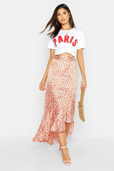 Orange Ruffle Hem Leopard Maxi Skirt