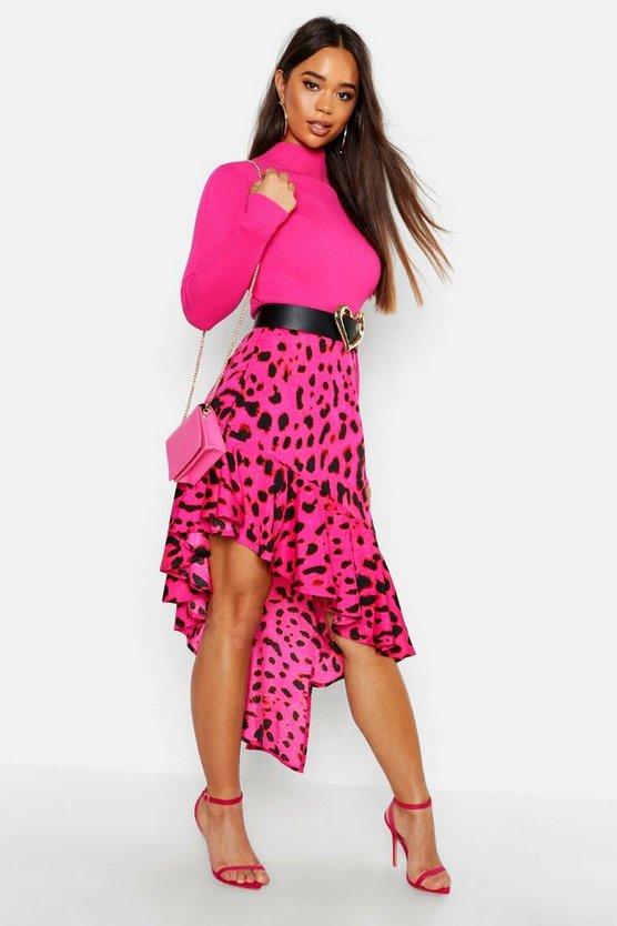 jupe-mi-longue-à-ourlet-à-volants-imprimé-léopard by boohoo