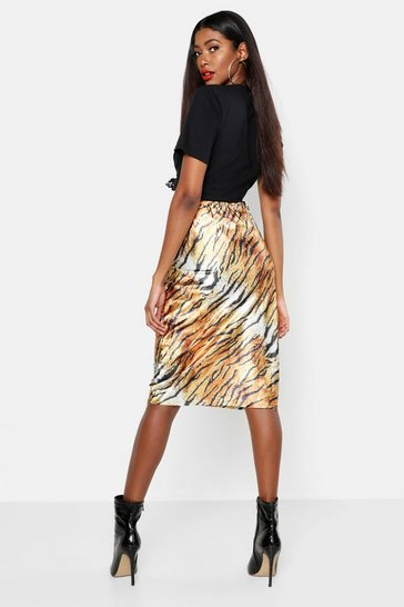 Womens Brown Tiger Print Satin Bias Cut Slip Midi Skirt