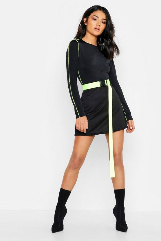 Womens Black Neon Sweat A Line Mini Skirt