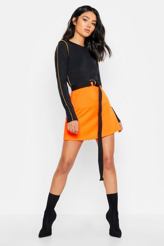 Womens Orange Neon Sweat A Line Mini Skirt