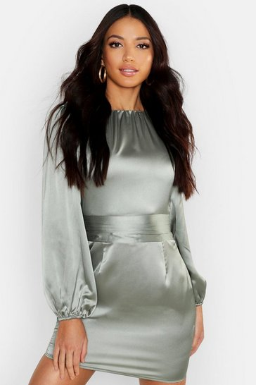 Womens Sage Satin Blouson Sleeve Mini Dress