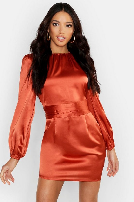 Satin Blouson Sleeve Mini Dress