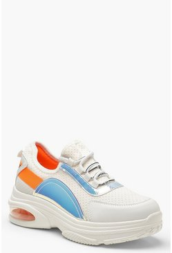 Womens White Holographic Panel Chunky Trainers