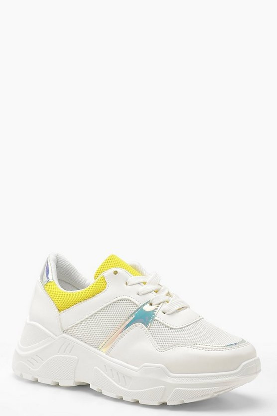 Holographic Panel Chunky Dad Trainers