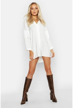 Womens Ivory Fringed Back Western Shirt Dress