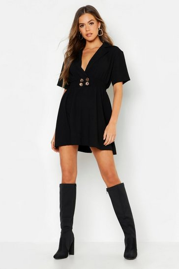 Womens Gold Button Skater Shirt Dress