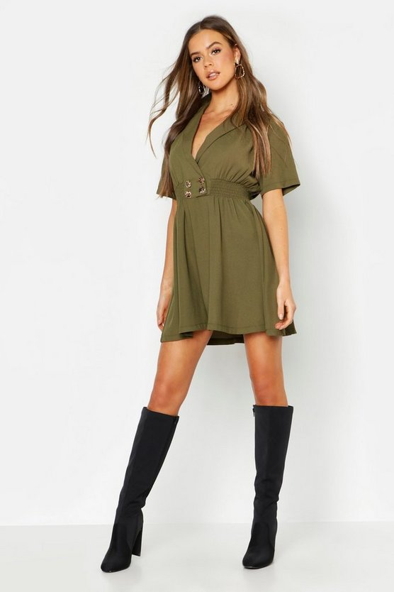 Womens Khaki Gold Button Skater Shirt Dress