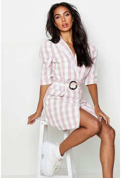 Womens Pink Self Belted Gingham Check Blazer Dress