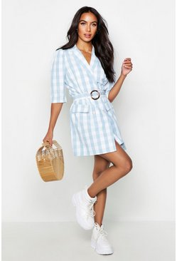 Womens Powder blue Self Belted Gingham Check Blazer Dress