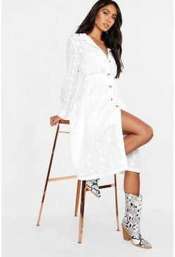 Womens Ivory Button Front Broderie Anglais Shirt Dress