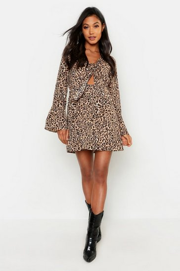 Womens Sand Satin Leopard Knot Front Flared Sleeve Dress