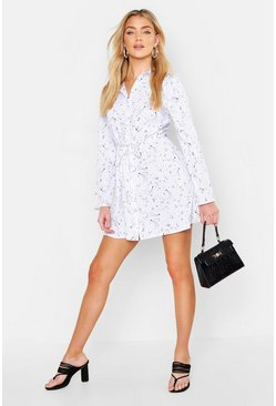 Womens Ivory Zodiac Tie Waist Shirt Dress