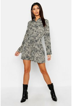 Womens Sand Mini Leopard Tie Waist Shirt Dress