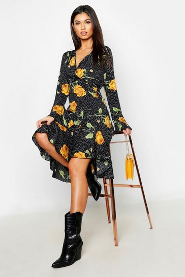 Womens Black Floral Ruffle Hem Wrap Woven Midi Dress