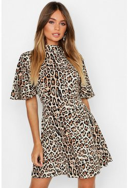 Womens Leopard High Neck Skater Dress