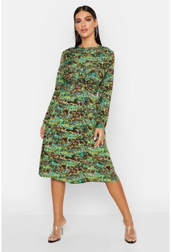 Womens Green Snake Print Twist Midi Dress