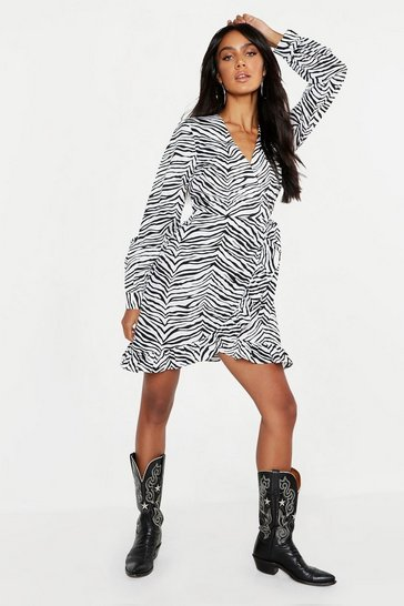 Womens Black Zebra Ruffle Wrap Tea Dress