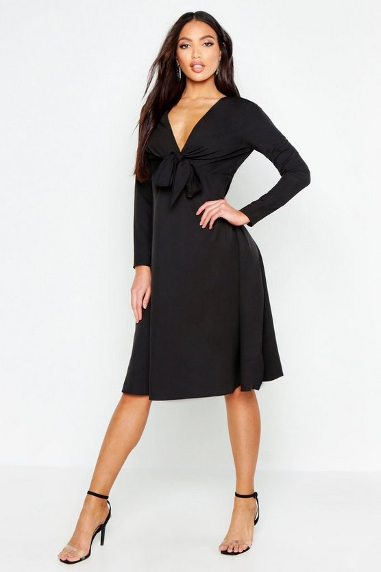 Womens Black Tie Front Midi Dress