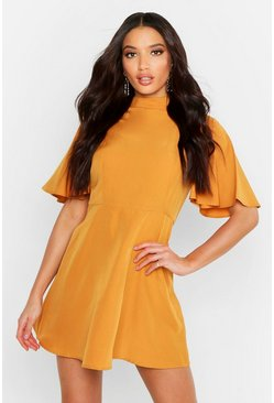 Womens Mustard High Neck Flutter Sleeve Skater Dress
