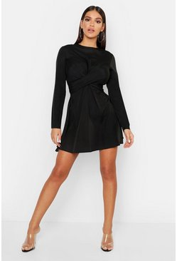Womens Black Twist Front Mini Dress