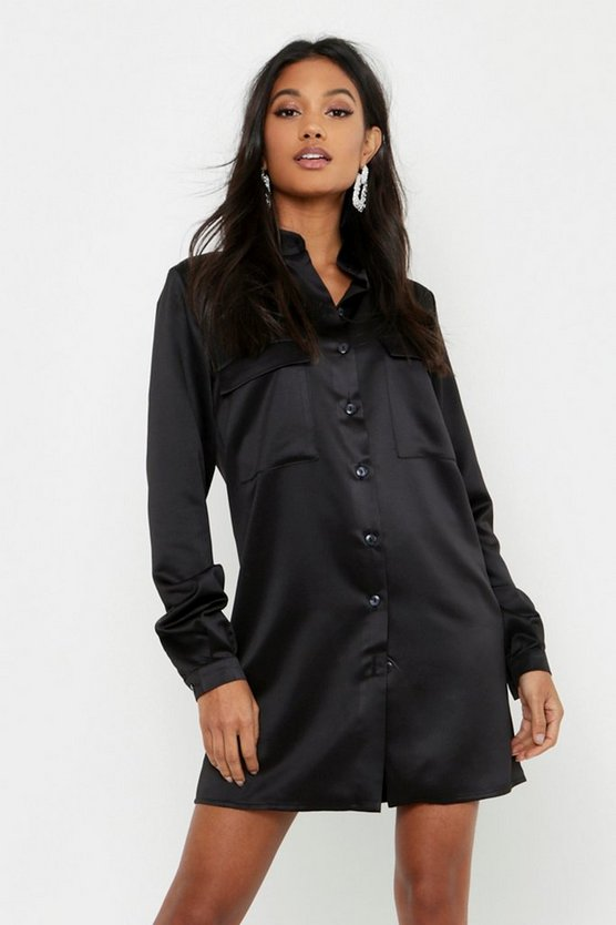 Womens Black Satin Pocket Front Shirt Dress