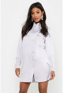 Silver Satin Pocket Front Shirt Dress