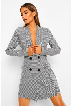 Womens Black Dogtooth Button Blazer Dress