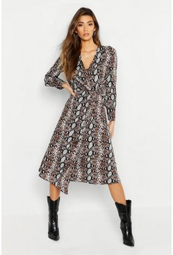 Womens Black Snake Print Button Front Midi Dress