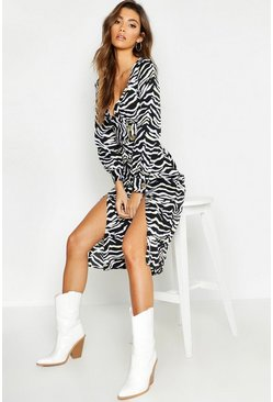 Womens Black Wrap Front Double Split Zebra Skater Dress