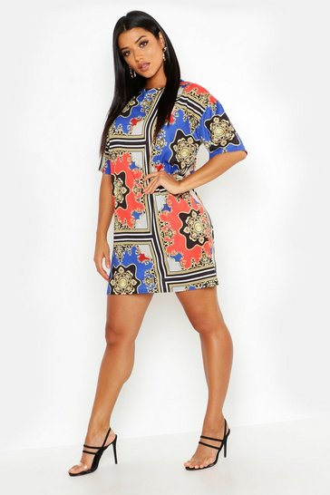 Womens Blue Chain Print Oversized Shift Dress