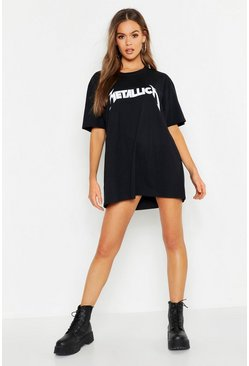 Womens Black Metallica License Oversized T-Shirt Dress