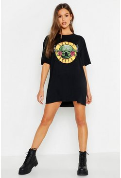 Womens Black Classic Guns N Roses License Oversized T-Shirt Dress