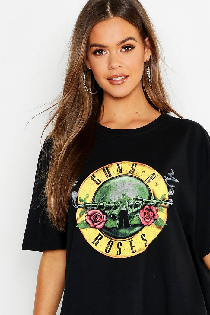 Classic Guns N Roses License Oversized T Shirt Dress | boohoo