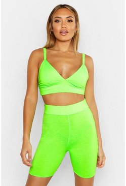 Womens Neon-lime Fit Neon Sports Bra