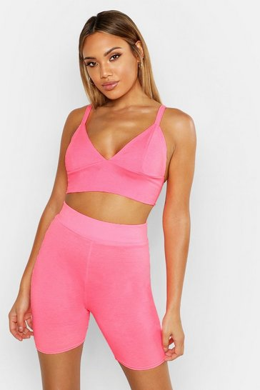 Womens Neon-pink Fit Neon Sports Bra