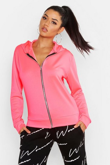 Womens Neon-pink Fit Neon Sports Jacket