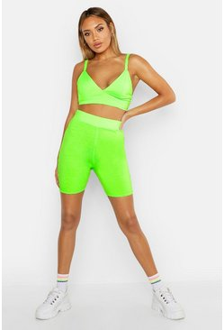 Womens Neon-lime Fit Neon Cycling Shorts