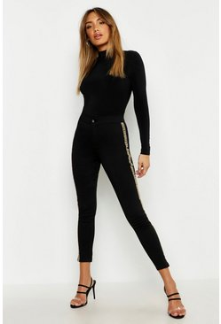 Womens Black Leopard Side Stripe Skinny Jean