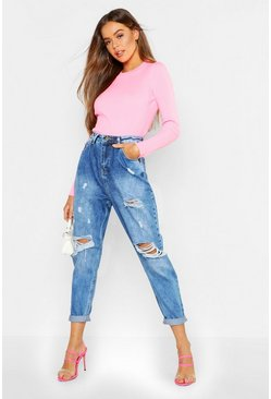 Boyfriend-Jeans im Destroyed-Look, Hellblau, DAMEN