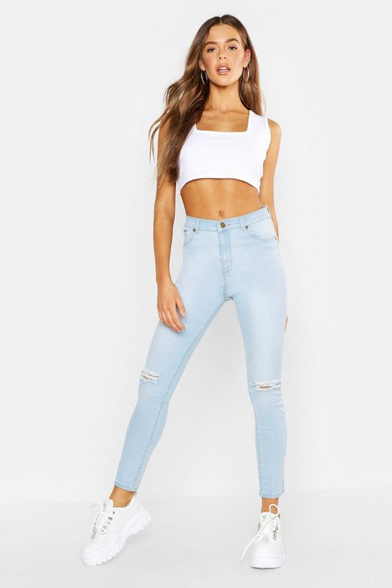Light blue High Rise Distressed