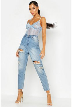 High-Waist Mom-Jeans im Destroyed-Look, Mittelblau