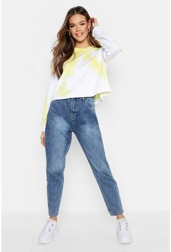 Womens Light blue High Rise Acid Wash Mom Jean