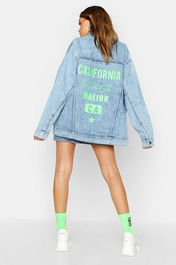 Womens Light blue Neon California Oversized Denim Jacket