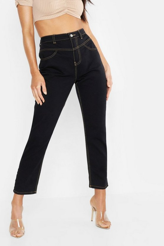 Womens Black Contrast Stitch High Waist Mom Jean